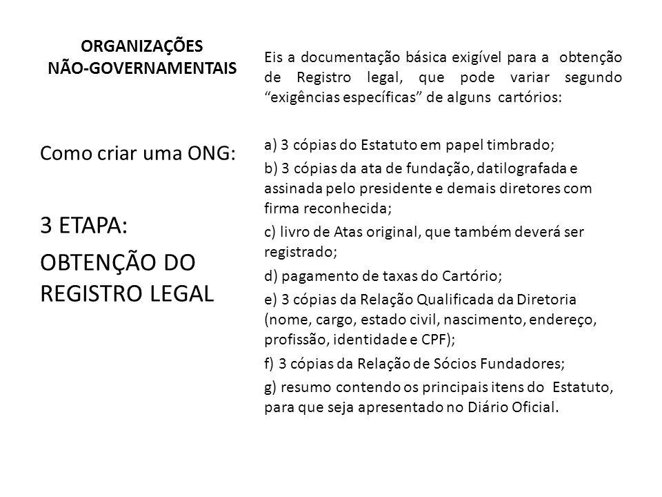 Eis a documentação básica exigível para a obtenção de Registro legal, que pode variar segundo exigências específicas de alguns cartórios: a) 3 cópias