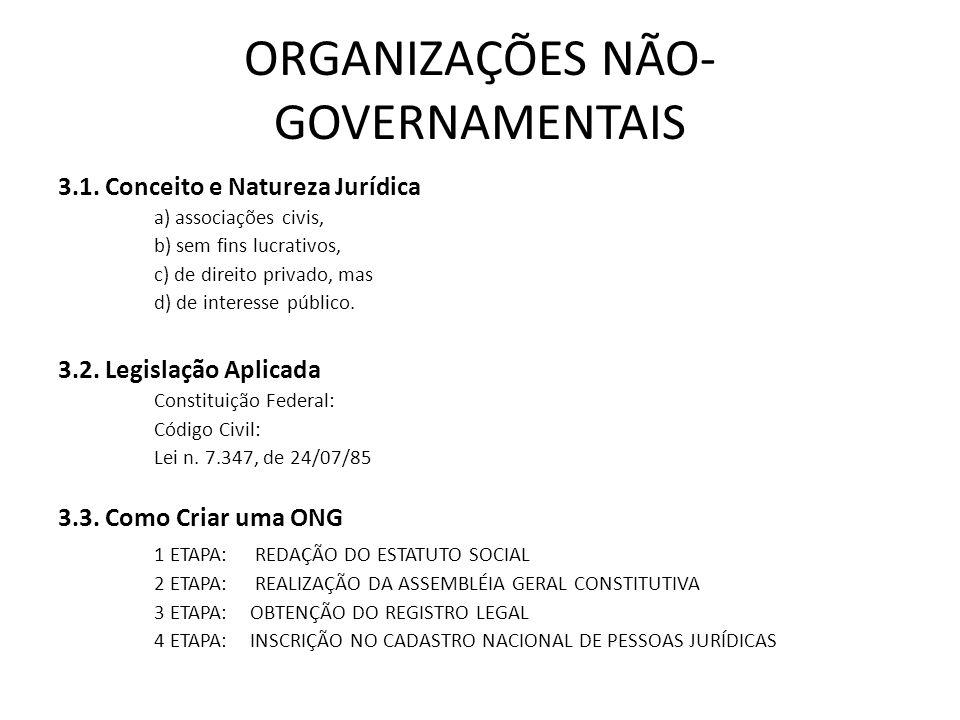 ORGANIZAÇÕES NÃO- GOVERNAMENTAIS 3.1. Conceito e Natureza Jurídica a) associações civis, b) sem fins lucrativos, c) de direito privado, mas d) de inte
