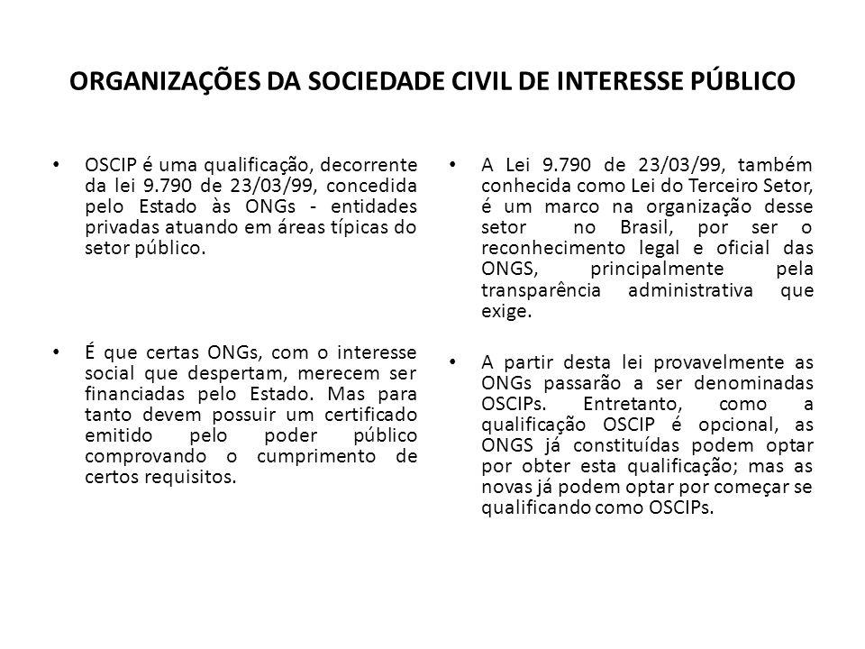 ORGANIZAÇÕES DA SOCIEDADE CIVIL DE INTERESSE PÚBLICO OSCIP é uma qualificação, decorrente da lei 9.790 de 23/03/99, concedida pelo Estado às ONGs - en