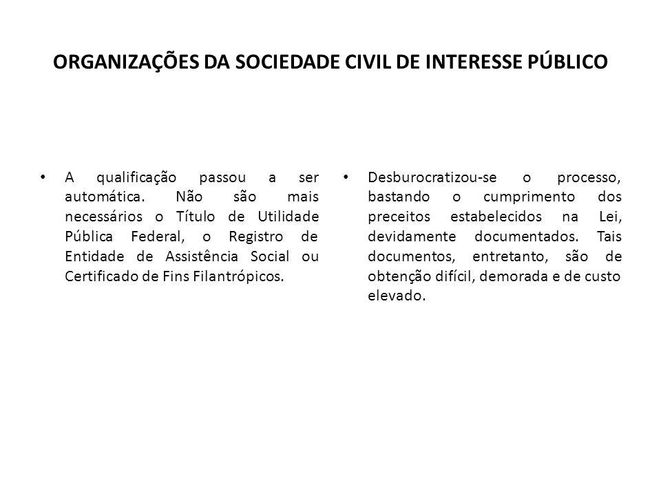 ORGANIZAÇÕES DA SOCIEDADE CIVIL DE INTERESSE PÚBLICO A qualificação passou a ser automática. Não são mais necessários o Título de Utilidade Pública Fe