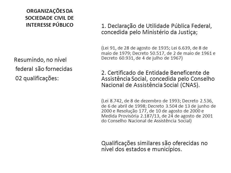 ORGANIZAÇÕES DA SOCIEDADE CIVIL DE INTERESSE PÚBLICO 1. Declaração de Utilidade Pública Federal, concedida pelo Ministério da Justiça; (Lei 91, de 28