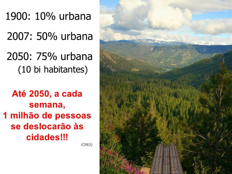 1900: 10% urbana 2007: 50% urbana 2050: 75% urbana (10 bi habitantes) Até 2050, a cada semana, 1 milhão de pessoas se deslocarão às cidades!!.