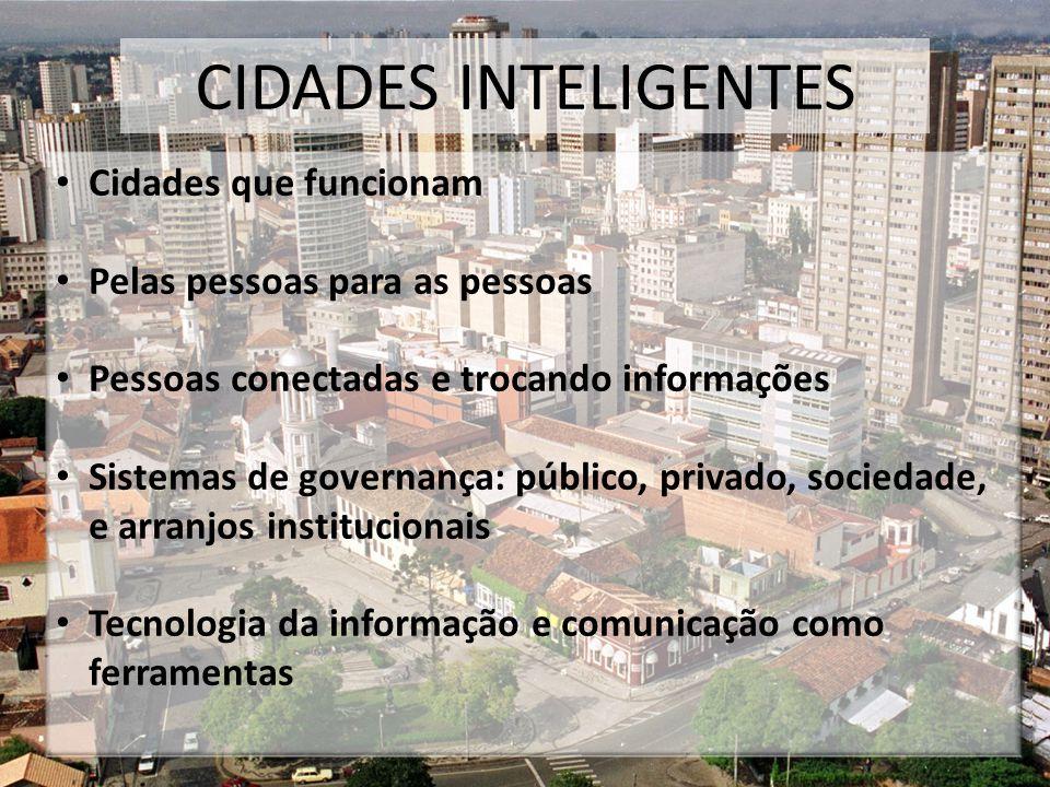 CIDADES INTELIGENTES Cidades que funcionam Pelas pessoas para as pessoas Pessoas conectadas e trocando informações Sistemas de governança: público, privado, sociedade, e arranjos institucionais Tecnologia da informação e comunicação como ferramentas