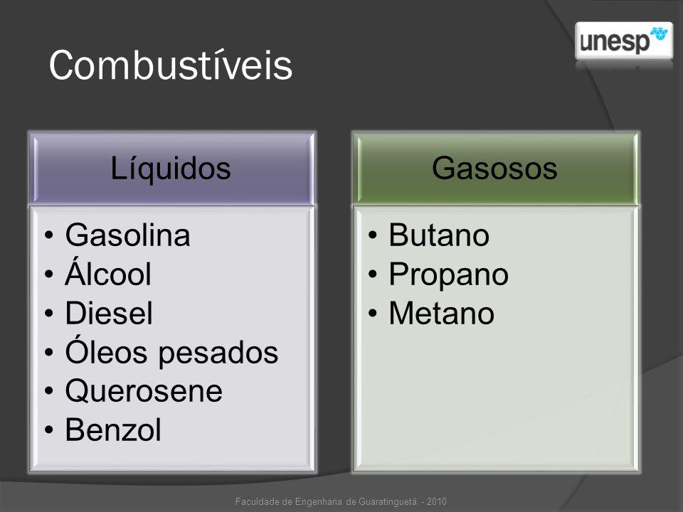 Combustíveis Líquidos Gasolina Álcool Diesel Óleos pesados Querosene Benzol Gasosos Butano Propano Metano Faculdade de Engenharia de Guaratinguetá - 2