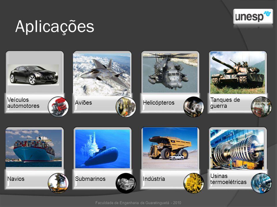 Aplicações Faculdade de Engenharia de Guaratinguetá - 2010 Veículos automotores AviõesHelicópteros Tanques de guerra NaviosSubmarinosIndústria Usinas