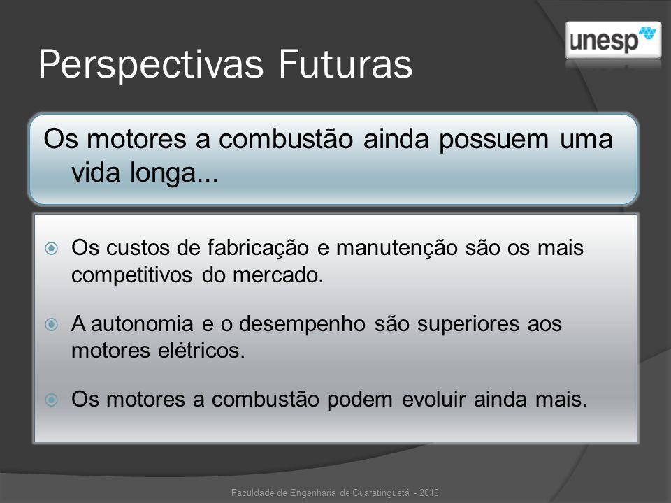 Perspectivas Futuras Os motores a combustão ainda possuem uma vida longa... Os custos de fabricação e manutenção são os mais competitivos do mercado.