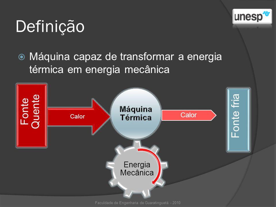 Definição Máquina capaz de transformar a energia térmica em energia mecânica Calor Energia Mecânica Fonte Quente Fonte fria Faculdade de Engenharia de