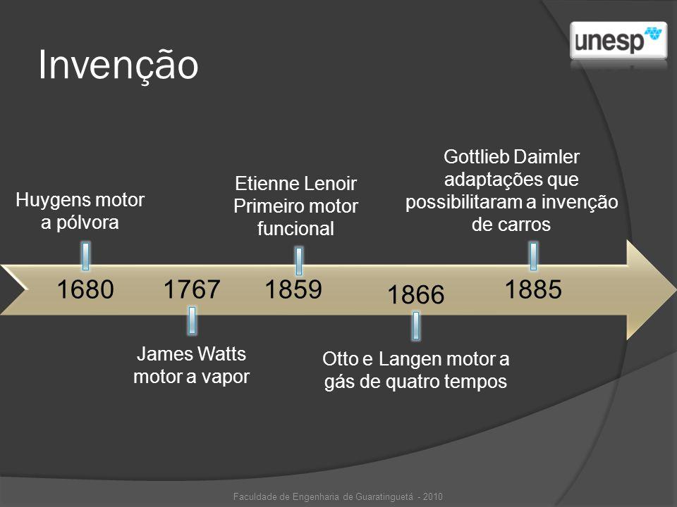Invenção 168017671859 1866 Huygens motor a pólvora James Watts motor a vapor Etienne Lenoir Primeiro motor funcional Gottlieb Daimler adaptações que p