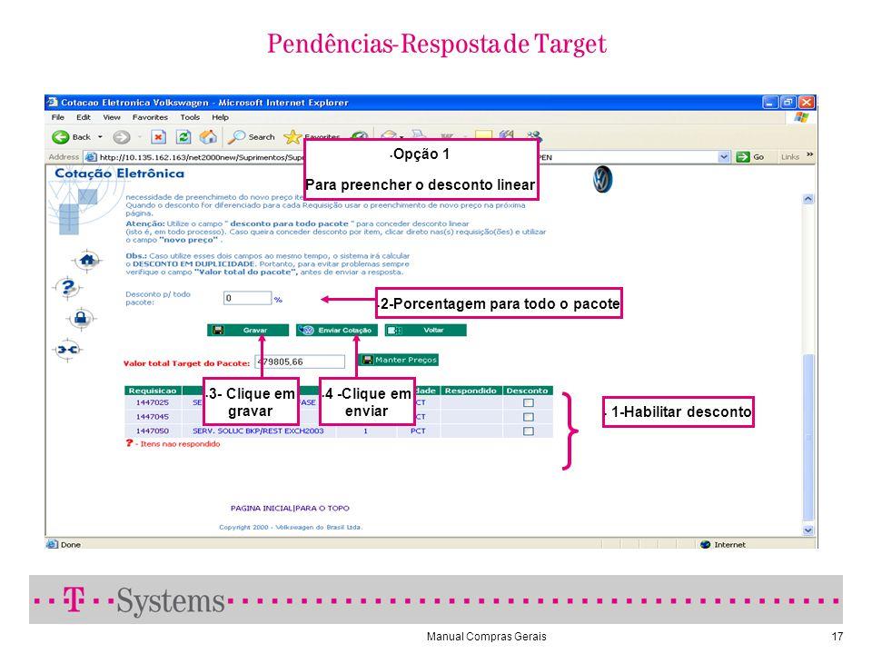 Manual Compras Gerais17 Pendências- Resposta de Target 1-Habilitar desconto 2-Porcentagem para todo o pacote 3- Clique em gravar 4 -Clique em enviar Opção 1 Para preencher o desconto linear