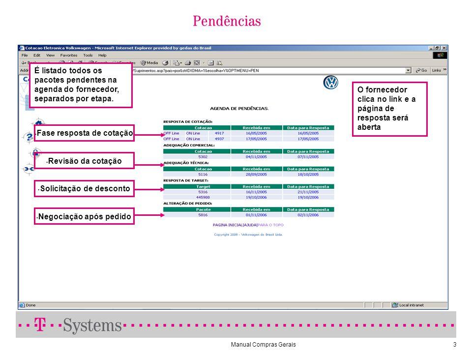 Manual Compras Gerais3 É listado todos os pacotes pendentes na agenda do fornecedor, separados por etapa. O fornecedor clica no link e a página de res