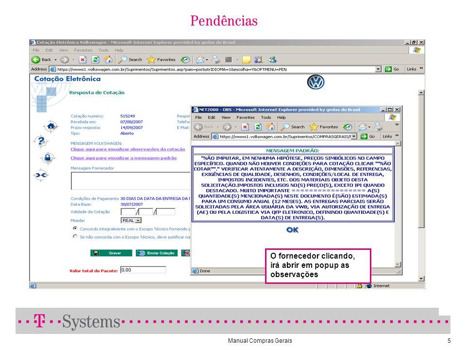 Manual Compras Gerais5 O fornecedor clicando, irá abrir em popup as observações Pendências