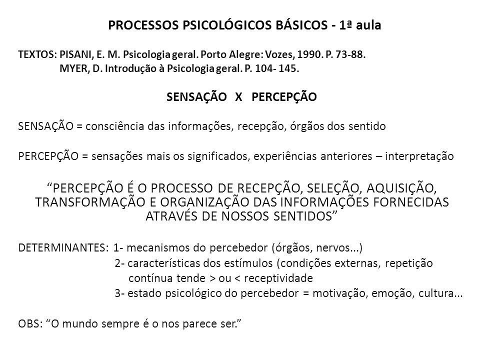 PROCESSOS PSICOLÓGICOS BÁSICOS - 1ª aula TEXTOS: PISANI, E.