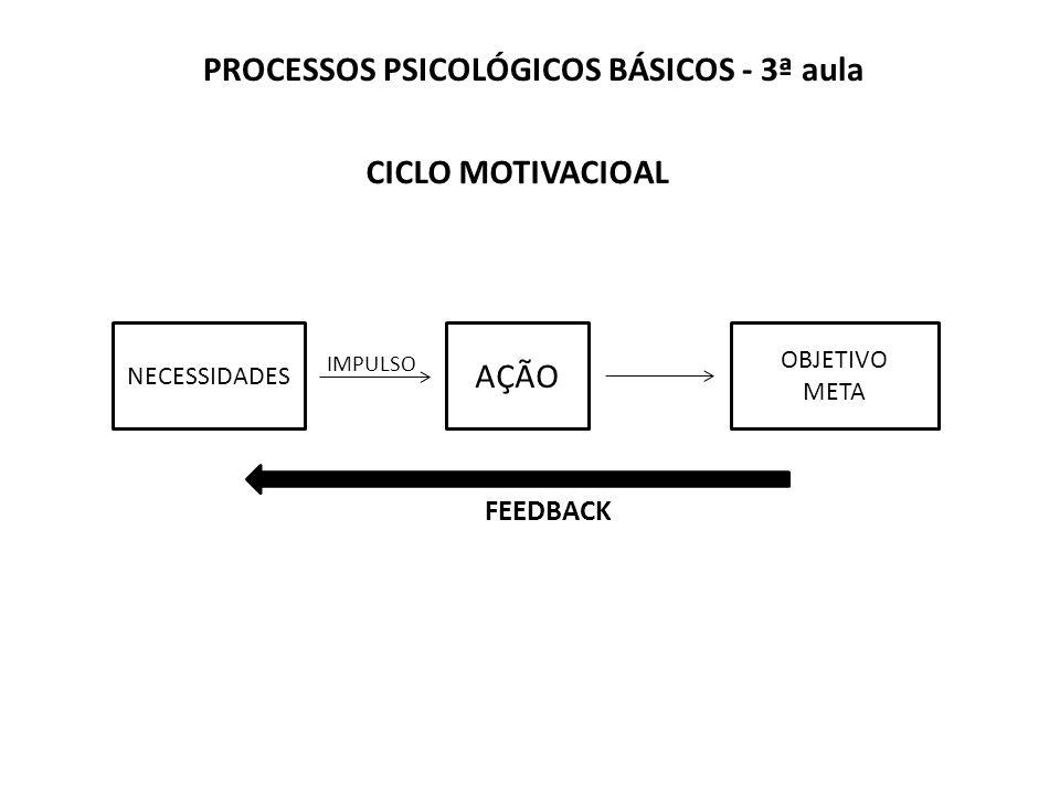 PROCESSOS PSICOLÓGICOS BÁSICOS - 3ª aula CICLO MOTIVACIOAL IMPULSO FEEDBACK NECESSIDADES AÇÃO OBJETIVO META