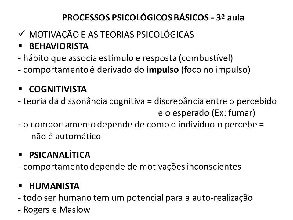 MOTIVAÇÃO E AS TEORIAS PSICOLÓGICAS BEHAVIORISTA - hábito que associa estímulo e resposta (combustível) - comportamento é derivado do impulso (foco no impulso) COGNITIVISTA - teoria da dissonância cognitiva = discrepância entre o percebido e o esperado (Ex: fumar) - o comportamento depende de como o indivíduo o percebe = não é automático PSICANALÍTICA - comportamento depende de motivações inconscientes HUMANISTA - todo ser humano tem um potencial para a auto-realização - Rogers e Maslow