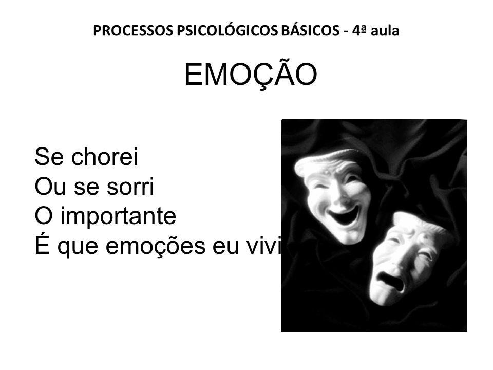 PROCESSOS PSICOLÓGICOS BÁSICOS - 4ª aula EMOÇÃO Se chorei Ou se sorri O importante É que emoções eu vivi