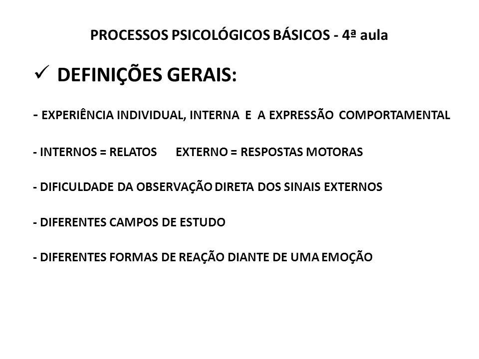 PROCESSOS PSICOLÓGICOS BÁSICOS - 4ª aula DEFINIÇÕES GERAIS: - EXPERIÊNCIA INDIVIDUAL, INTERNA E A EXPRESSÃO COMPORTAMENTAL - INTERNOS = RELATOS EXTERNO = RESPOSTAS MOTORAS - DIFICULDADE DA OBSERVAÇÃO DIRETA DOS SINAIS EXTERNOS - DIFERENTES CAMPOS DE ESTUDO - DIFERENTES FORMAS DE REAÇÃO DIANTE DE UMA EMOÇÃO