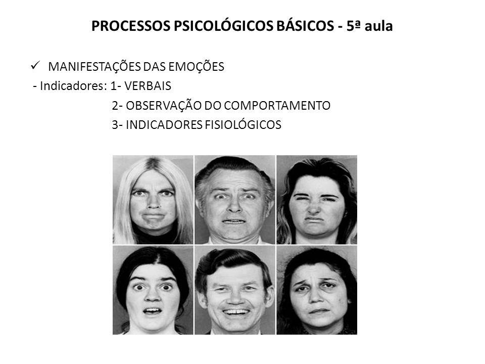 PROCESSOS PSICOLÓGICOS BÁSICOS - 5ª aula MANIFESTAÇÕES DAS EMOÇÕES - Indicadores: 1- VERBAIS 2- OBSERVAÇÃO DO COMPORTAMENTO 3- INDICADORES FISIOLÓGICOS
