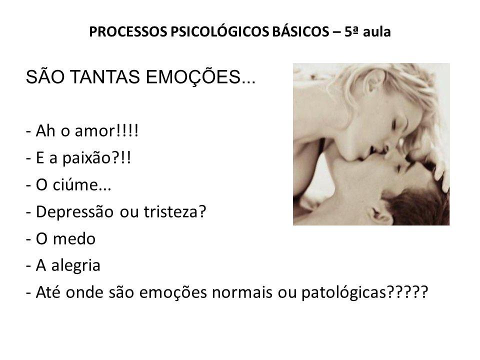 PROCESSOS PSICOLÓGICOS BÁSICOS – 5ª aula SÃO TANTAS EMOÇÕES...