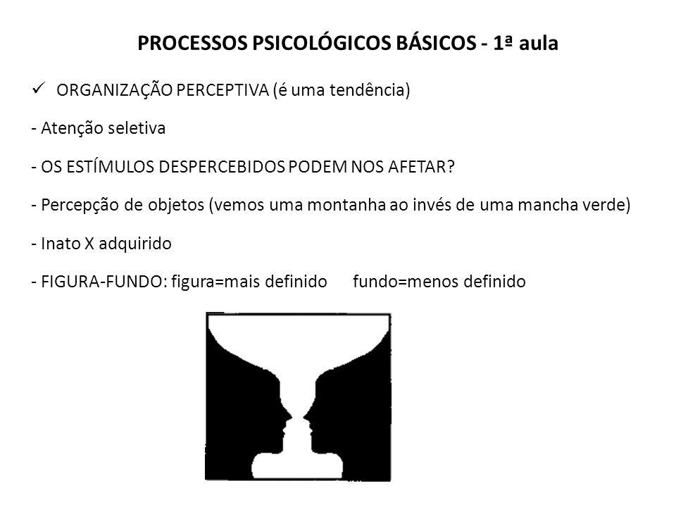 PROCESSOS PSICOLÓGICOS BÁSICOS - 1ª aula ORGANIZAÇÃO PERCEPTIVA (é uma tendência) - Atenção seletiva - OS ESTÍMULOS DESPERCEBIDOS PODEM NOS AFETAR.