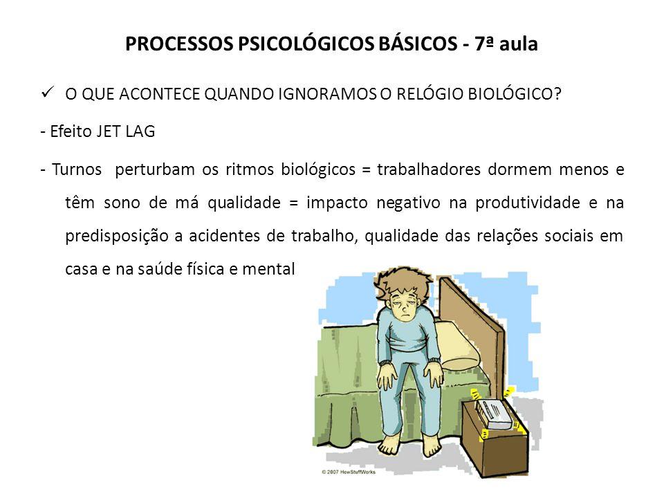 PROCESSOS PSICOLÓGICOS BÁSICOS - 7ª aula O QUE ACONTECE QUANDO IGNORAMOS O RELÓGIO BIOLÓGICO.