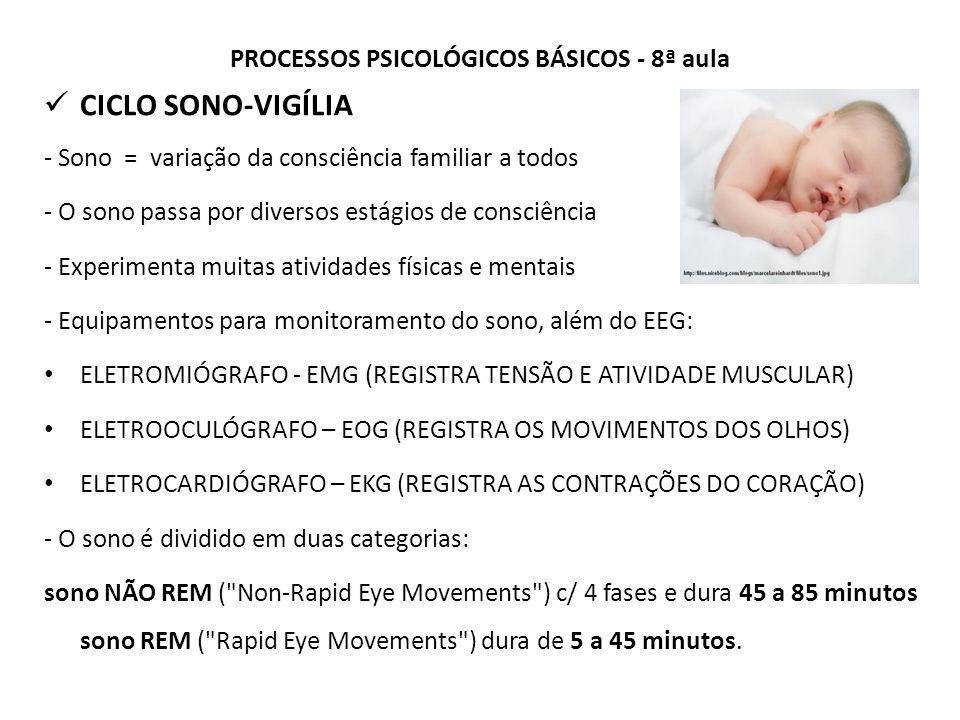 PROCESSOS PSICOLÓGICOS BÁSICOS - 8ª aula CICLO SONO-VIGÍLIA - Sono = variação da consciência familiar a todos - O sono passa por diversos estágios de consciência - Experimenta muitas atividades físicas e mentais - Equipamentos para monitoramento do sono, além do EEG: ELETROMIÓGRAFO - EMG (REGISTRA TENSÃO E ATIVIDADE MUSCULAR) ELETROOCULÓGRAFO – EOG (REGISTRA OS MOVIMENTOS DOS OLHOS) ELETROCARDIÓGRAFO – EKG (REGISTRA AS CONTRAÇÕES DO CORAÇÃO) - O sono é dividido em duas categorias: sono NÃO REM ( Non-Rapid Eye Movements ) c/ 4 fases e dura 45 a 85 minutos sono REM ( Rapid Eye Movements ) dura de 5 a 45 minutos.