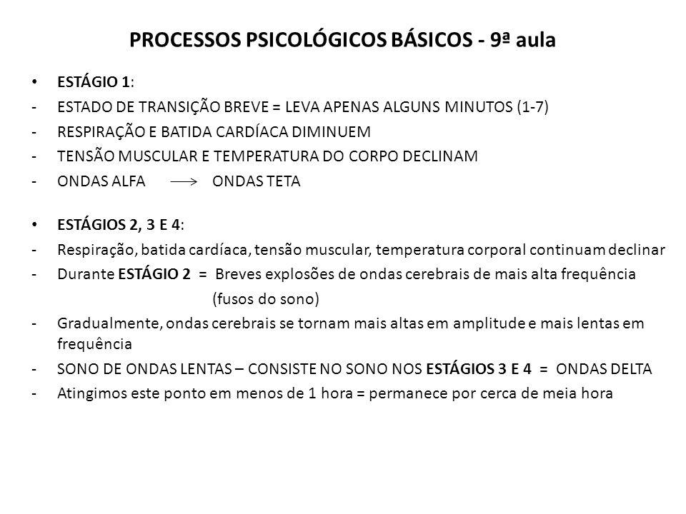 PROCESSOS PSICOLÓGICOS BÁSICOS - 9ª aula ESTÁGIO 1: -ESTADO DE TRANSIÇÃO BREVE = LEVA APENAS ALGUNS MINUTOS (1-7) -RESPIRAÇÃO E BATIDA CARDÍACA DIMINUEM -TENSÃO MUSCULAR E TEMPERATURA DO CORPO DECLINAM -ONDAS ALFA ONDAS TETA ESTÁGIOS 2, 3 E 4: -Respiração, batida cardíaca, tensão muscular, temperatura corporal continuam declinar -Durante ESTÁGIO 2 = Breves explosões de ondas cerebrais de mais alta frequência (fusos do sono) -Gradualmente, ondas cerebrais se tornam mais altas em amplitude e mais lentas em frequência -SONO DE ONDAS LENTAS – CONSISTE NO SONO NOS ESTÁGIOS 3 E 4 = ONDAS DELTA -Atingimos este ponto em menos de 1 hora = permanece por cerca de meia hora