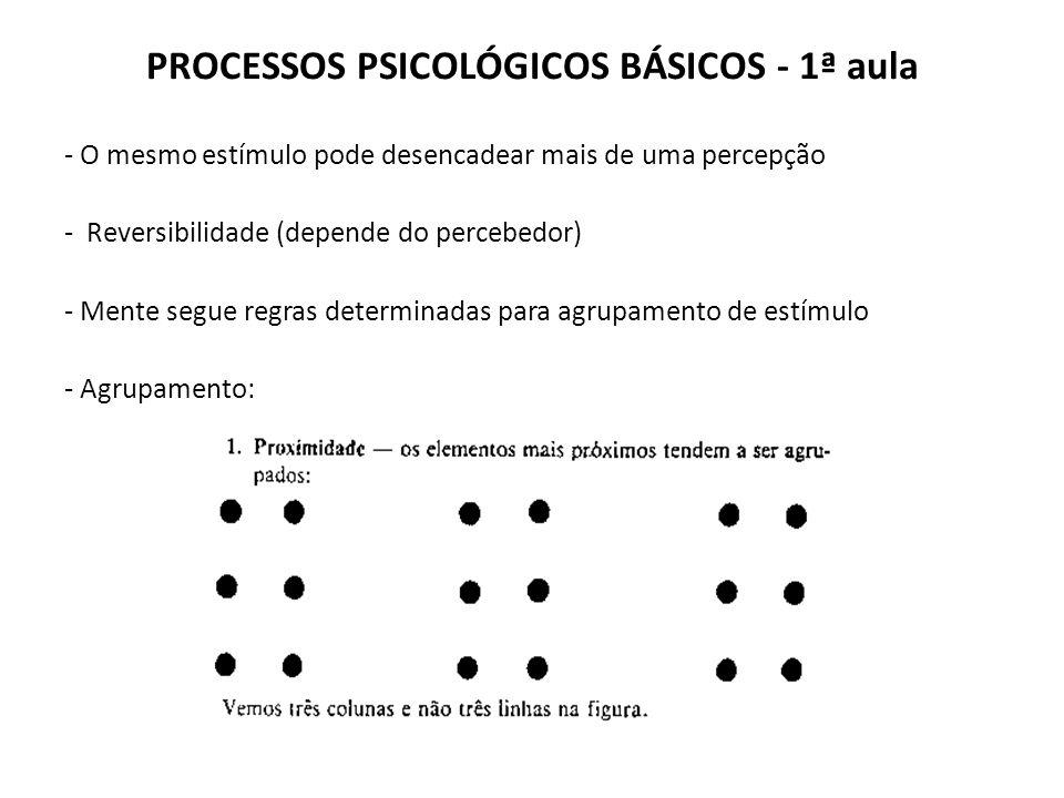 PROCESSOS PSICOLÓGICOS BÁSICOS - 1ª aula - O mesmo estímulo pode desencadear mais de uma percepção - Reversibilidade (depende do percebedor) - Mente segue regras determinadas para agrupamento de estímulo - Agrupamento: