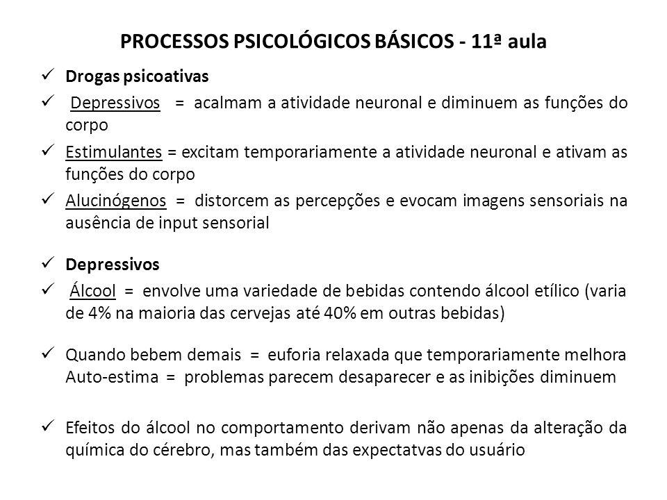 PROCESSOS PSICOLÓGICOS BÁSICOS - 11ª aula Drogas psicoativas Depressivos = acalmam a atividade neuronal e diminuem as funções do corpo Estimulantes = excitam temporariamente a atividade neuronal e ativam as funções do corpo Alucinógenos = distorcem as percepções e evocam imagens sensoriais na ausência de input sensorial Depressivos Álcool = envolve uma variedade de bebidas contendo álcool etílico (varia de 4% na maioria das cervejas até 40% em outras bebidas) Quando bebem demais = euforia relaxada que temporariamente melhora Auto-estima = problemas parecem desaparecer e as inibições diminuem Efeitos do álcool no comportamento derivam não apenas da alteração da química do cérebro, mas também das expectatvas do usuário