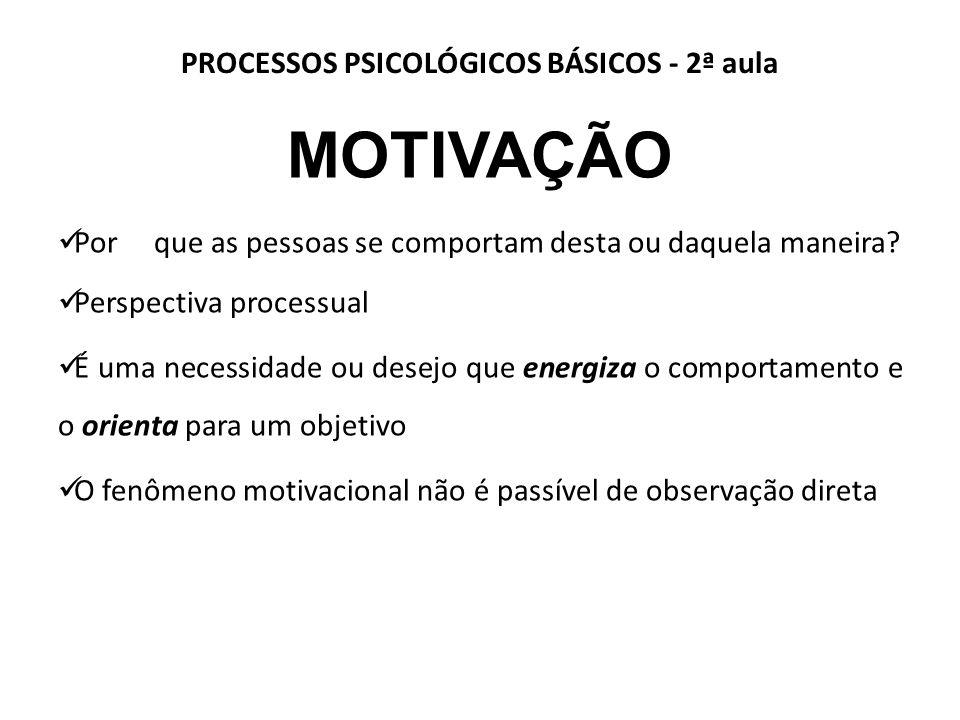 PROCESSOS PSICOLÓGICOS BÁSICOS - 2ª aula MOTIVAÇÃO Por que as pessoas se comportam desta ou daquela maneira.