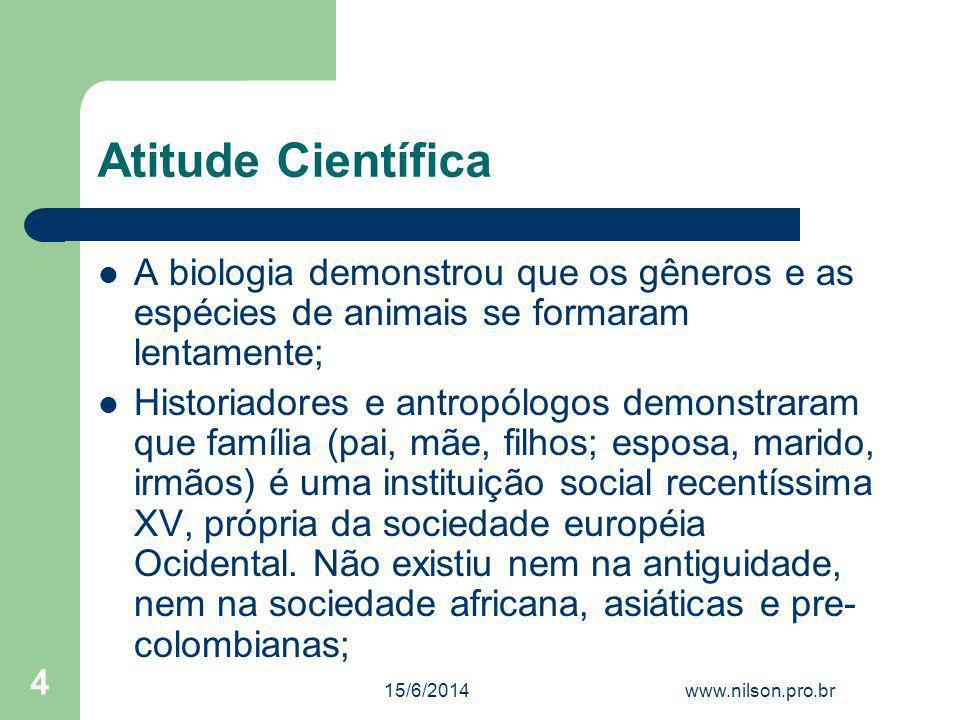 Atitude Científica A biologia demonstrou que os gêneros e as espécies de animais se formaram lentamente; Historiadores e antropólogos demonstraram que