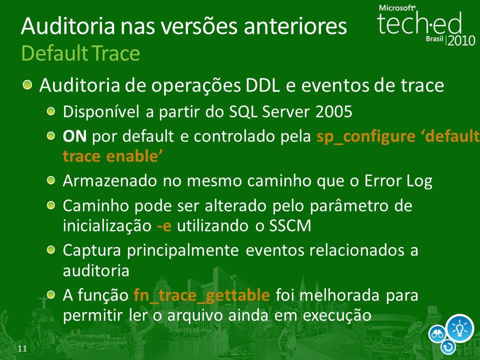 11 Auditoria nas versões anteriores Default Trace Auditoria de operações DDL e eventos de trace Disponível a partir do SQL Server 2005 ON por default