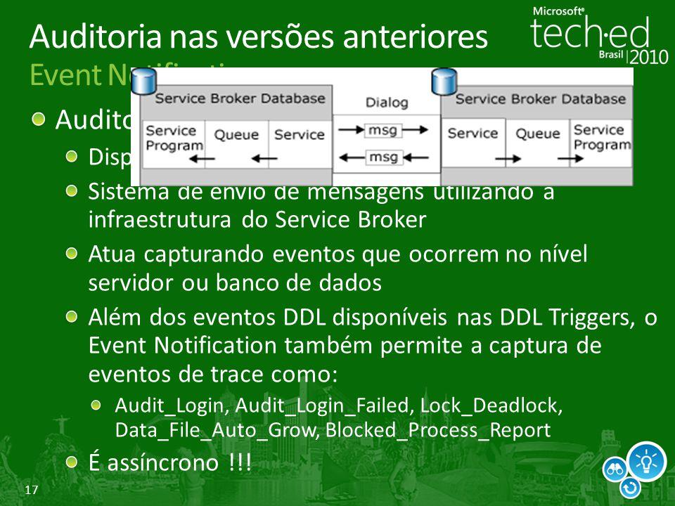 17 Auditoria nas versões anteriores Event Notification Auditoria de operações DDL e eventos Disponível no SQL Server 2005 e superiores Sistema de envi