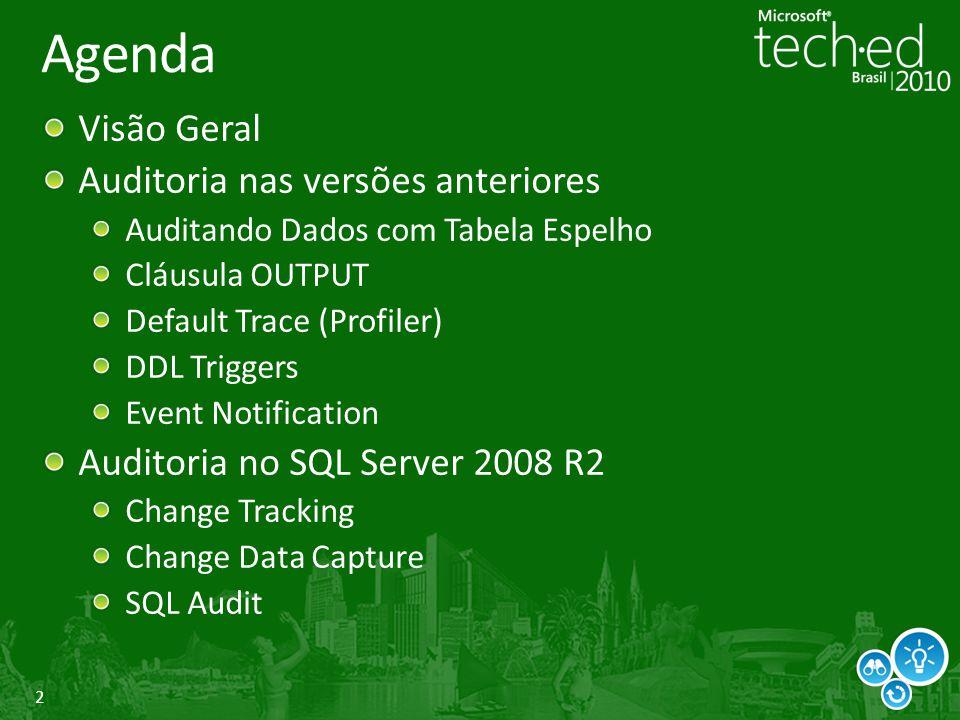 2 Agenda Visão Geral Auditoria nas versões anteriores Auditando Dados com Tabela Espelho Cláusula OUTPUT Default Trace (Profiler) DDL Triggers Event N