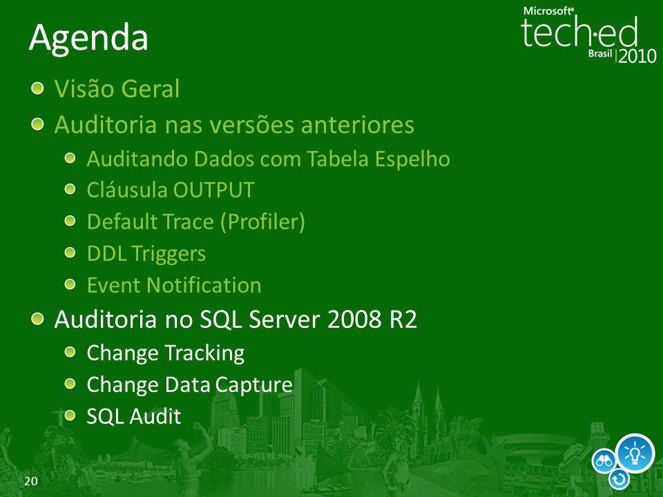20 Agenda Visão Geral Auditoria nas versões anteriores Auditando Dados com Tabela Espelho Cláusula OUTPUT Default Trace (Profiler) DDL Triggers Event