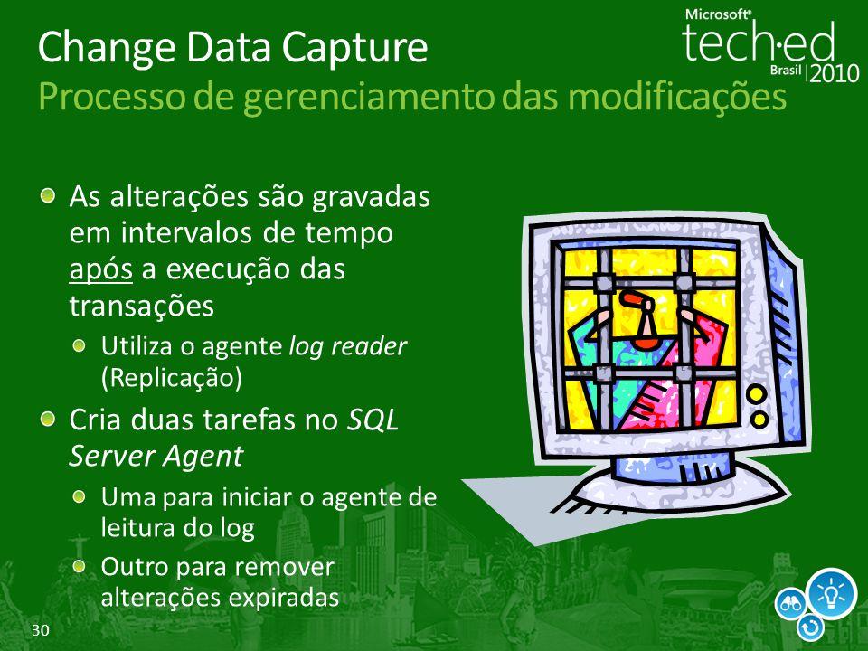 30 Change Data Capture Processo de gerenciamento das modificações As alterações são gravadas em intervalos de tempo após a execução das transações Uti