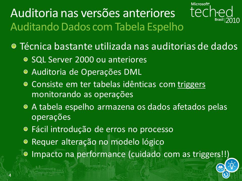 4 Auditoria nas versões anteriores Auditando Dados com Tabela Espelho Técnica bastante utilizada nas auditorias de dados SQL Server 2000 ou anteriores