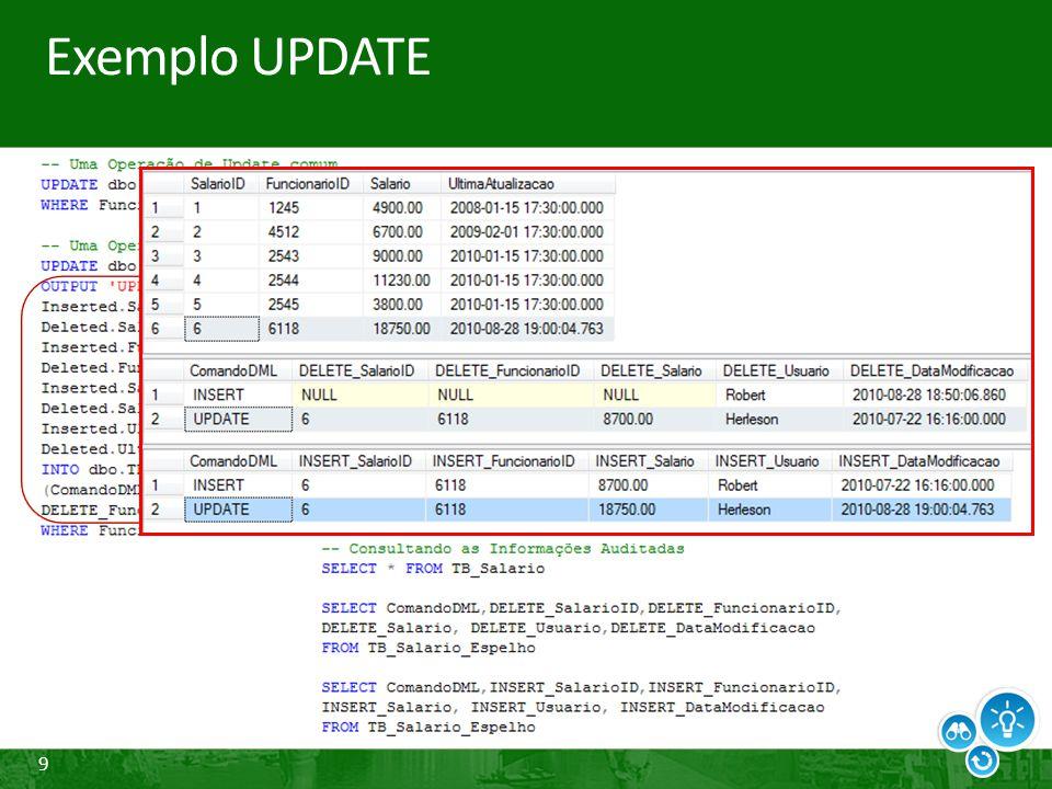 30 Change Data Capture Processo de gerenciamento das modificações As alterações são gravadas em intervalos de tempo após a execução das transações Utiliza o agente log reader (Replicação) Cria duas tarefas no SQL Server Agent Uma para iniciar o agente de leitura do log Outro para remover alterações expiradas