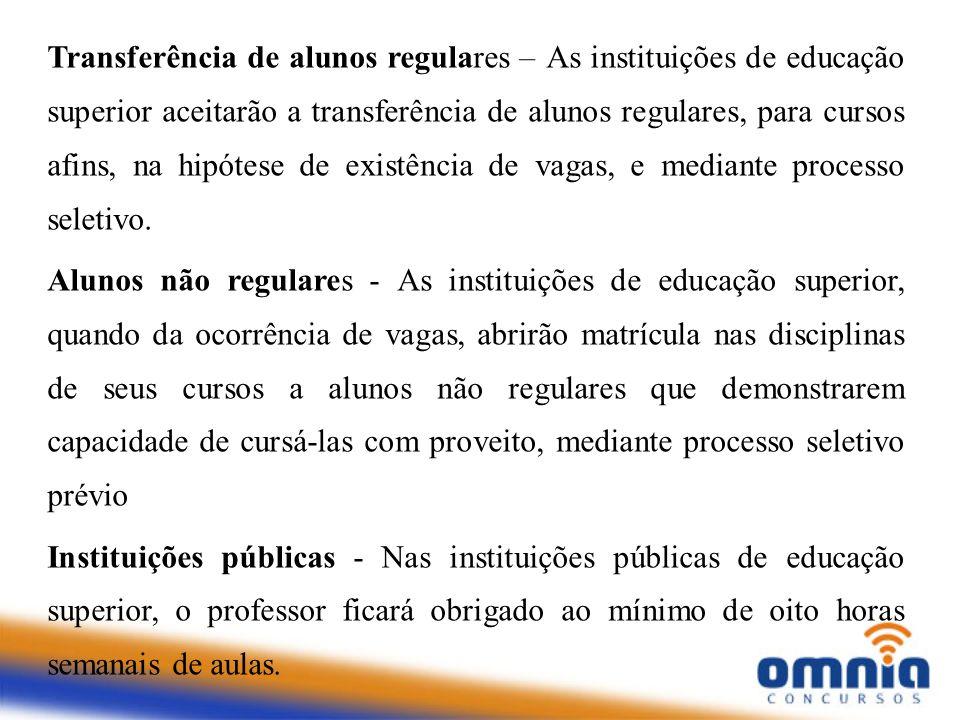 Transferência de alunos regulares – As instituições de educação superior aceitarão a transferência de alunos regulares, para cursos afins, na hipótese