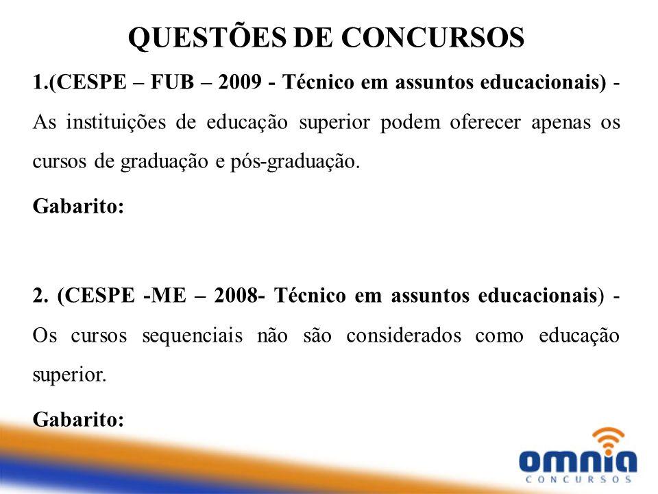 1.(CESPE – FUB – 2009 - Técnico em assuntos educacionais) - As instituições de educação superior podem oferecer apenas os cursos de graduação e pós-gr