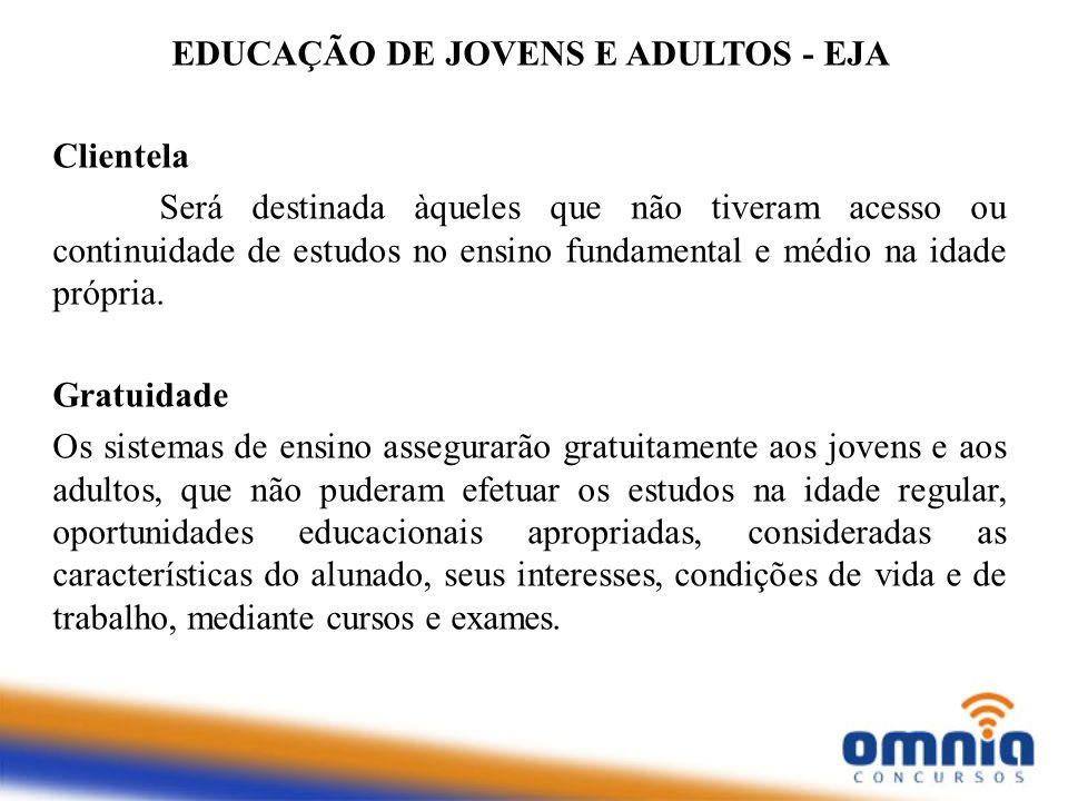 EDUCAÇÃO DE JOVENS E ADULTOS - EJA Clientela Será destinada àqueles que não tiveram acesso ou continuidade de estudos no ensino fundamental e médio na