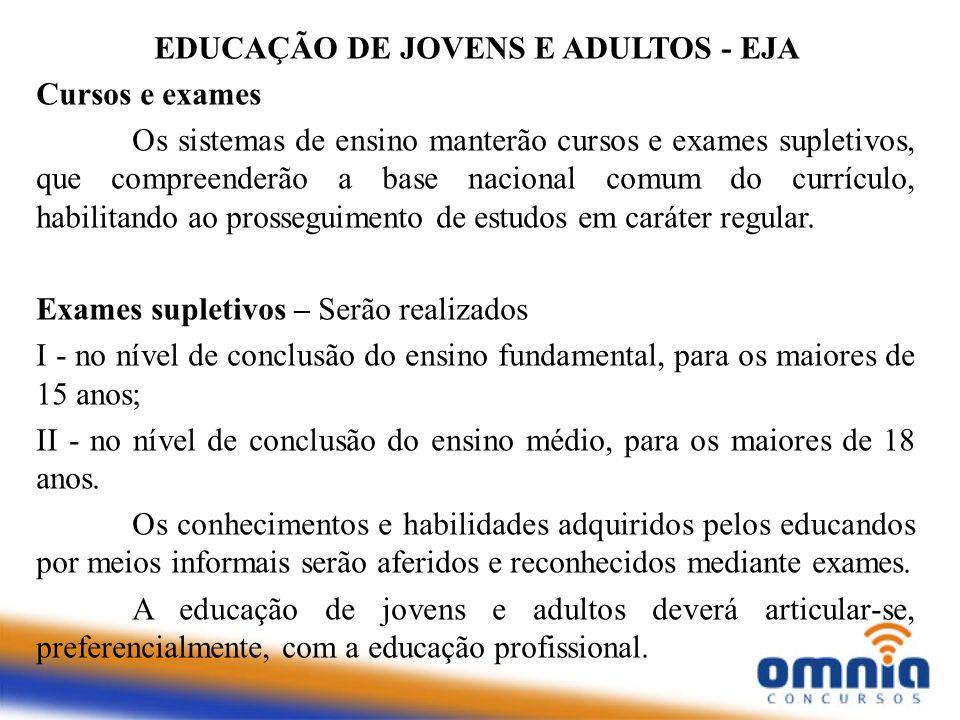 EDUCAÇÃO DE JOVENS E ADULTOS - EJA Cursos e exames Os sistemas de ensino manterão cursos e exames supletivos, que compreenderão a base nacional comum