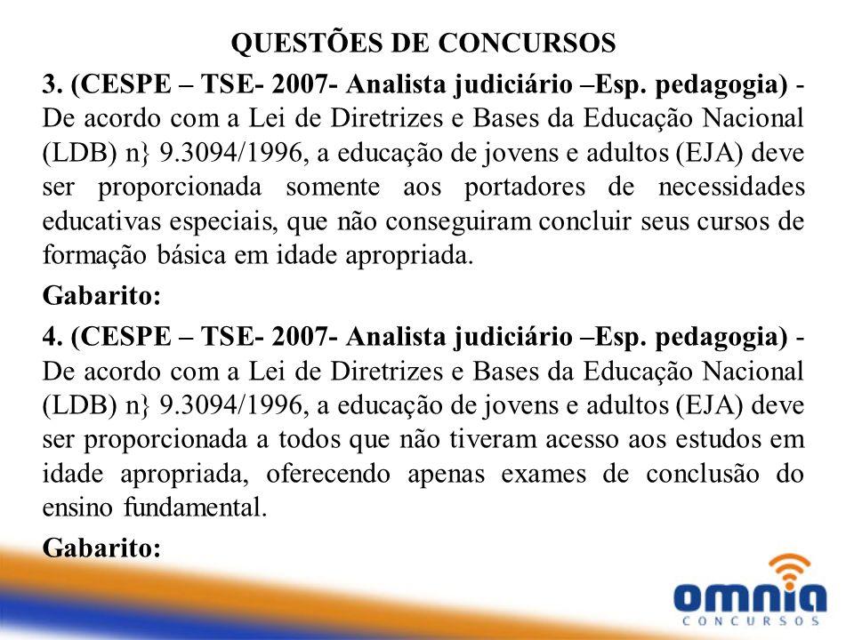 QUESTÕES DE CONCURSOS 3. (CESPE – TSE- 2007- Analista judiciário –Esp. pedagogia) - De acordo com a Lei de Diretrizes e Bases da Educação Nacional (LD