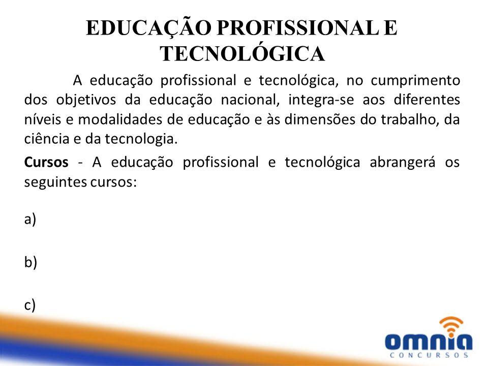 EDUCAÇÃO PROFISSIONAL E TECNOLÓGICA A educação profissional e tecnológica, no cumprimento dos objetivos da educação nacional, integra-se aos diferente