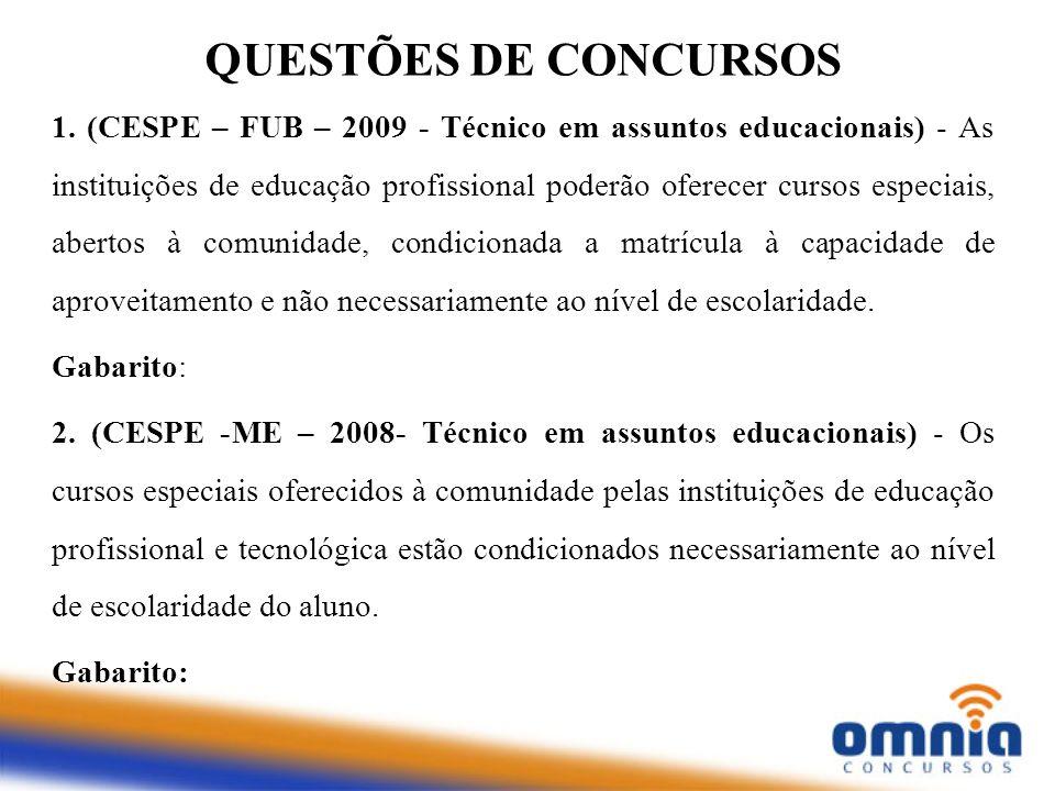 1. (CESPE – FUB – 2009 - Técnico em assuntos educacionais) - As instituições de educação profissional poderão oferecer cursos especiais, abertos à com