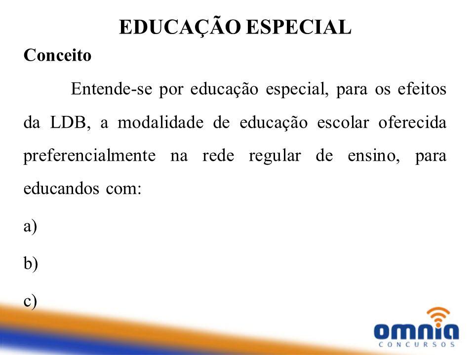 Conceito Entende-se por educação especial, para os efeitos da LDB, a modalidade de educação escolar oferecida preferencialmente na rede regular de ens