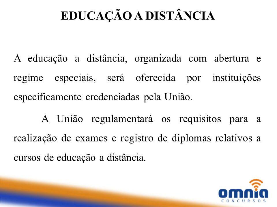 A educação a distância, organizada com abertura e regime especiais, será oferecida por instituições especificamente credenciadas pela União. A União r
