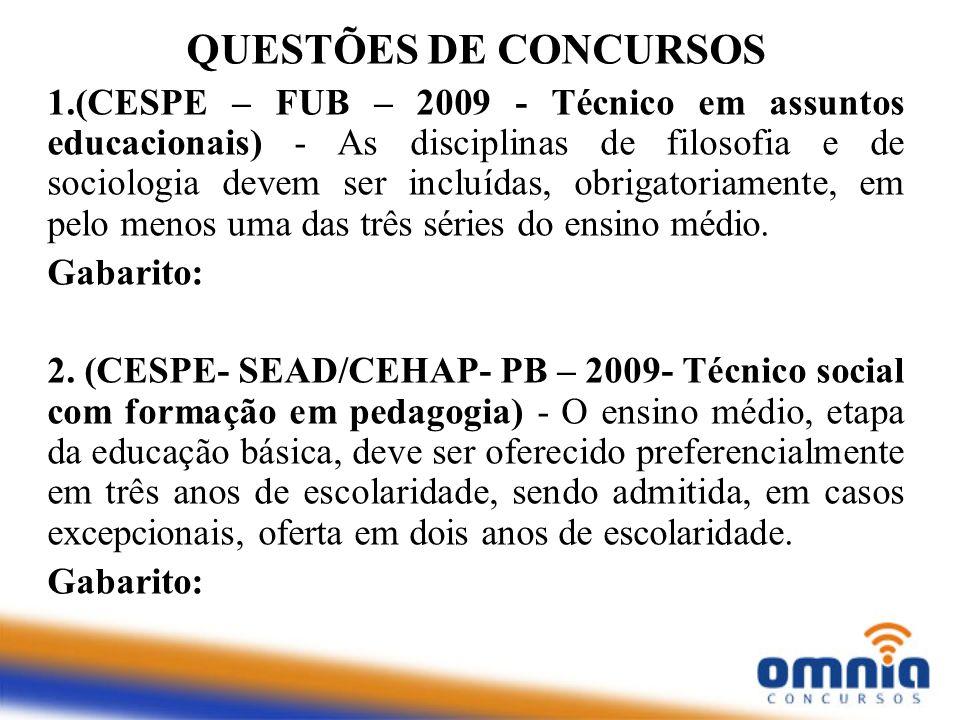 1.(CESPE – FUB – 2009 - Técnico em assuntos educacionais) - As disciplinas de filosofia e de sociologia devem ser incluídas, obrigatoriamente, em pelo