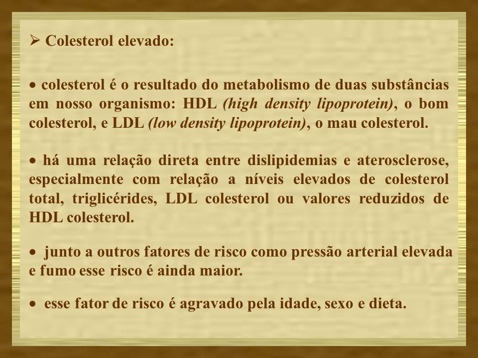 Colesterol elevado: colesterol é o resultado do metabolismo de duas substâncias em nosso organismo: HDL (high density lipoprotein), o bom colesterol,