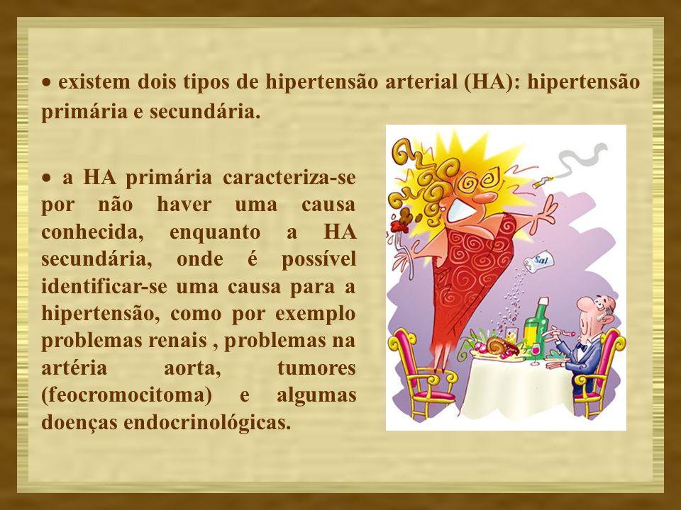 existem dois tipos de hipertensão arterial (HA): hipertensão primária e secundária. a HA primária caracteriza-se por não haver uma causa conhecida, en