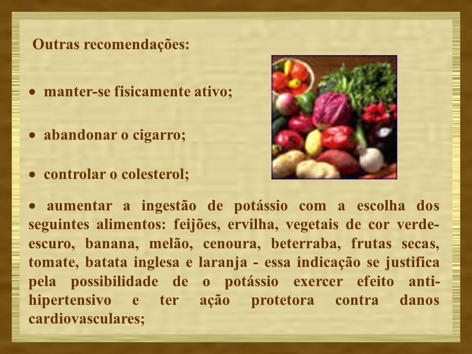 Outras recomendações: manter-se fisicamente ativo; abandonar o cigarro; controlar o colesterol; aumentar a ingestão de potássio com a escolha dos segu